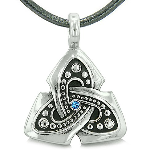 - Ancient Viking Celtic Triquetra Knot Amulet Protection Powers Royal Blue Crystal Pendant Leather Necklace