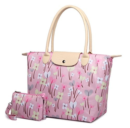 (Crest Design Women's Large Foldable Handbag Tote Bag Shoulder Bag Purse for Work School Travel Gym Shopping Beach (Pink Lucky)
