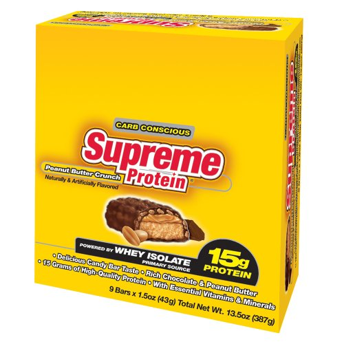 Supreme Protein 43g Bars, Peanut Butter Crunch, 9-Count