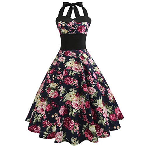 KEERADS Damen Neckholder Cocktailkleid Vintage 1950er Kleid Basic ...