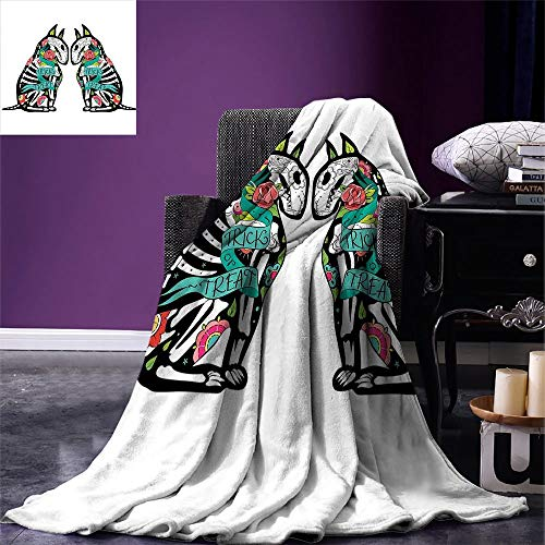 LONSANT Halloween Digital Fashion Blanket Skeleton Demon Figures Flowers and Trick or Treat Quote Ethnic Holiday Design Summer Quilt Comforter -