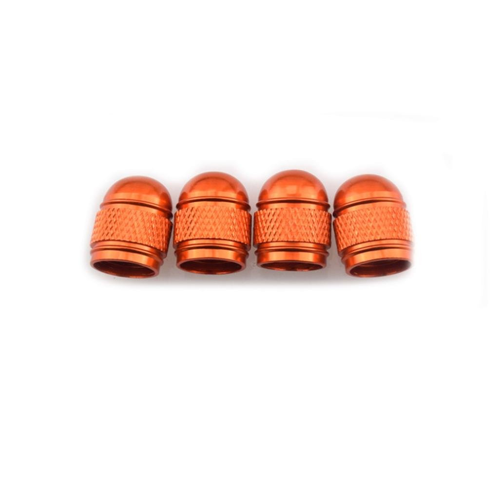 Xiaosan 4 PCS Aluminum Bullet Universal Car Truck Motocycle Wheel Tyre Valve Caps Bike Tire Cover (Orange)