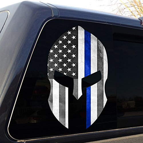 Spartan-Helmet-Thin-Blue-Line-Grunge-Police-Decal-Sticker-Graphic-car-truck-SUV-4-Sizes-Available
