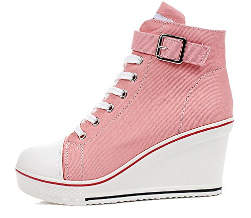Padgene Women's Sneaker High-Heeled Fashion Canvas Shoes High Pump Lace UP Wedges Side Zipper Shoes (9 US, Pink 2)
