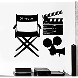 Negativ Wall Decal Movie Director Clapperboard Vinyl Removable Mural Art Decoration Stickers for Home Bedroom Nursery Living Room Kitchen