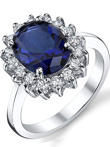 Ring Cubic Blue Sapphire Zirconia (Solid Sterling Silver Kate Middleton's Engagement Ring with Simulated Sapphire Blue Color Cubic Zirconia 9)