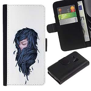 Protector de cuero de la PU de la cubierta del estilo de la carpeta del tirón BY RAYDREAMMM - Samsung Galaxy S3 MINI 8190 - Mujer en plumas - Pop Art