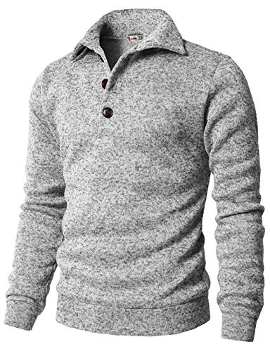 H2H Men's Slim Fit Turtleneck Basic Knit Sweater with Buttons White US 3XL/Asia 4XL (CMTTL091)