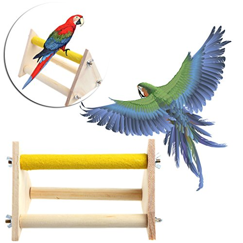 (Richi Fun Pet Parrot Bird Perch Stand Play Toys Gym Wooden Activity Table Playstand)