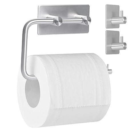 Klopapierhalter Selbstklebend Papierhalter SUS304 Edelstahl f/ür K/üche und Badezimmer Toilettenpapierhalter Ohne Bohren