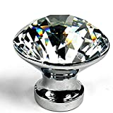 HOSL 10PCS Diamond Shape Crystal Glass Cabinet Knob...