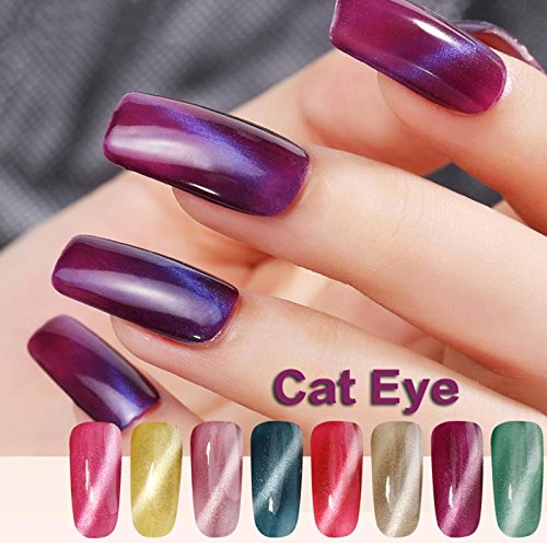 Amazon Perfect Summer 3D Magnetic Gel Nail Polish Charming Cat Eye Effect UV LED Light Soak Off 10ml Lacquers French Salon Manicure Mood Changing