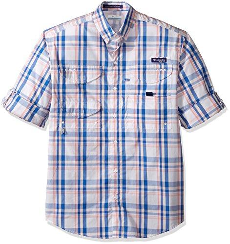 Columbia Sportswear Mens Super Bonehead Classic Long Sleeve Shirt, Vivid Blue Classic Plaid, Medium