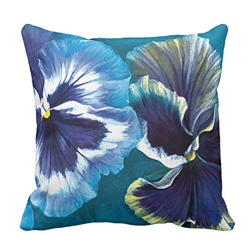Yutoa-Design Pansy Study fine Art Floral Square Pillow Cover Sofa Home Decorative Throw Pillow Case Gift Ideas Household Zippered Cushion Covers 18X18Inch