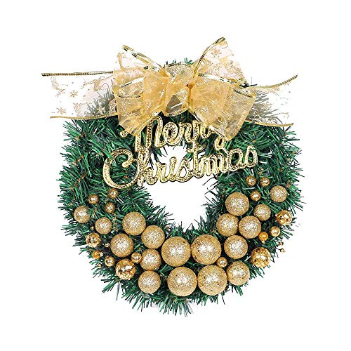 (QIANDONG1 Christmas Pendant Charms Merry Christmas Wreath 30Cm Bow Gold Powder Ball Ornament Decorations for Home Living Room Hanging)