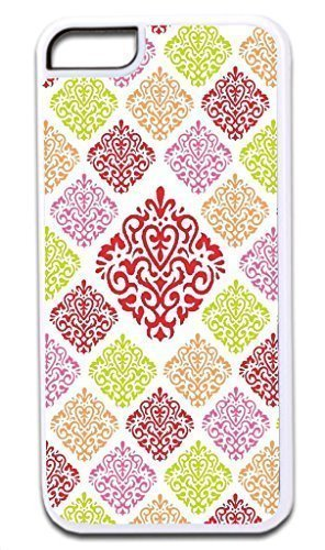 06-Large and Small Damasks-Pattern- Case for the APPLE IPHONE 5c ONLY!!! -Hard White Plastic Outer Case with Tough Black Rubber Lining