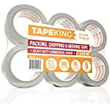 Tape King Clear Packing Tape - 60 Yards Per Roll (Pack of 6 Refill Rolls) - Stronger 2.7mil, Heavy Duty Sealing Adhesive Industrial Depot Tapes for Moving Packaging Shipping, Office & Storage