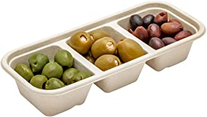 Pulp Tek 17 Ounce Biodegradable Food Containers, 100 Disposable Take Out Containers - Lids Sold Separately, 3 Compartments, Bagasse Compostable To Go Containers, Natural Sugarcane - Restaurantware