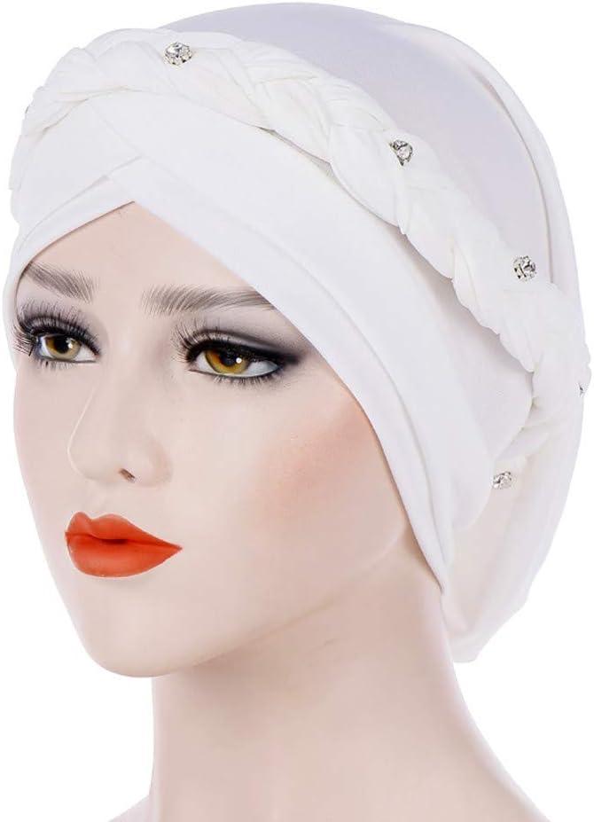 Zimuuy Frauen Beanie M/ütze Indien Muslim Hat Volltonfarbe One Tail Chemo Kopfbedeckung Turban Warm Wrap Kappe