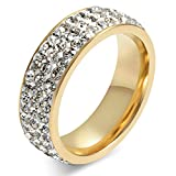 MoAndy Women Wedding Rings Bands Cubic Zirconia Eternity Rings,Stainless Steel Round Gold 7MM Width Size 7