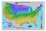 "USA Plant Hardiness Zone MAP - measures 36"" wide x 24"" high (915mm wide x 610mm high)"