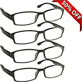 Reading Glasses _ Best 4 Pack for Men and Women _ Have a Stylish Look and Crystal Clear Vision When You Need It! _ Comfort Spring Arms & Dura-Tight Screws _ 100% Guarantee +5.00