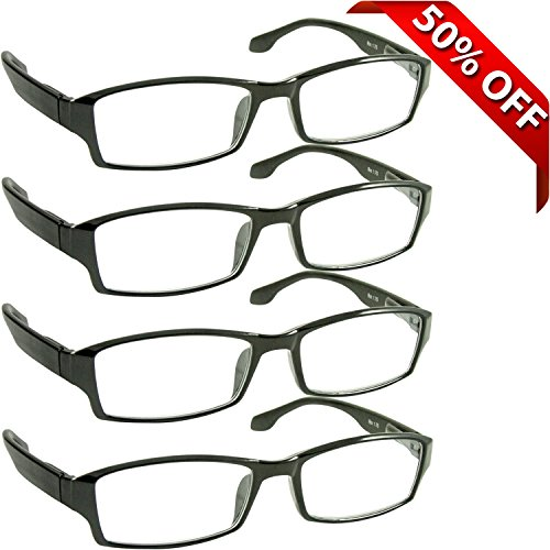 Reading Glasses _ Best 4 Pack for Men and Women _ Have a Stylish Look and Crystal Clear Vision When You Need It _ Comfort Spring Arms & Dura-Tight Screws _ 180 Day 100% Guarantee  2.50