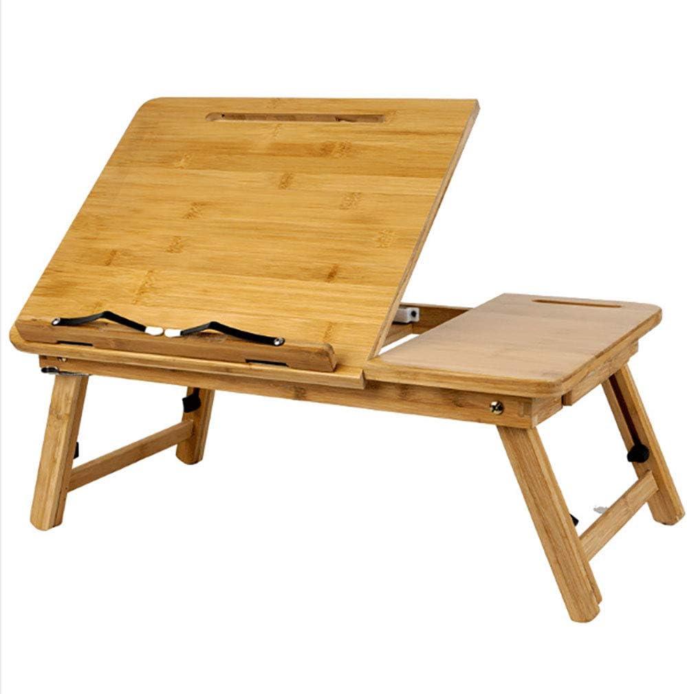 Laptop Desk Bamboo Table Adjustable FoldingReading Laptop Desk Bed Desk Serving Tray Breakfast Serving Bed Tray Multifunctional Bamboo Table with Drawer Reading Computer Desk