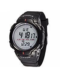 Morrivoe Mens 47.75mm Dial Date Week Display Stopwatch Sports Digital Wristwatches with Silicone Strap