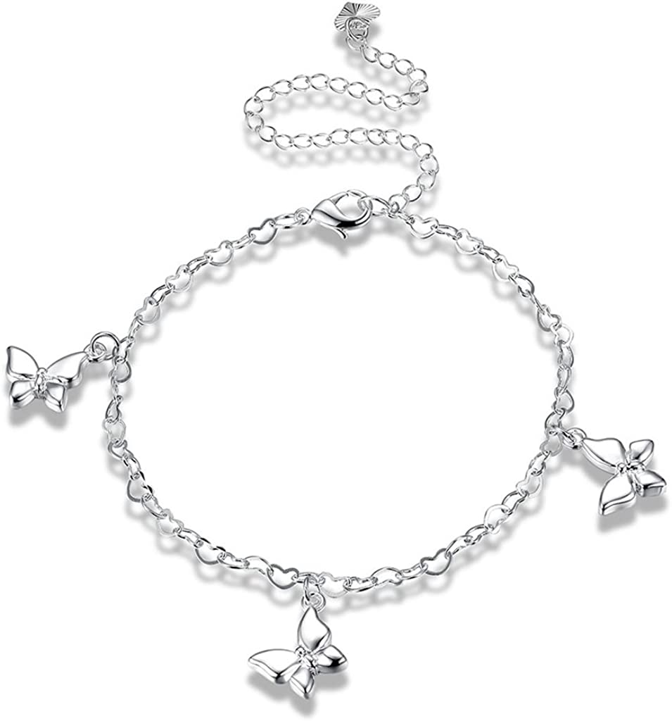 AMDXD Jewelry Silver Plated Anklets for Women Butterfly 1.2X1.9CM