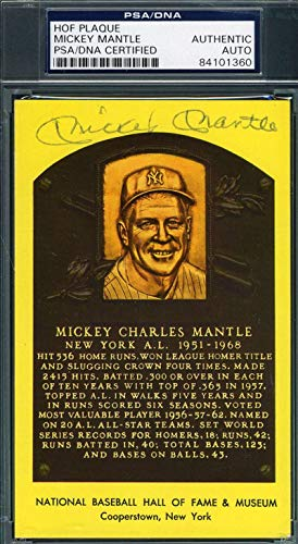 MICKEY MANTLE PSA DNA Cert Autograph Gold HOF Plaque Hand Signed Authentic