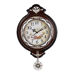 Graces Dawn 19'' Light-weight Antique Retro Elegant Decorative Clocks Ultra Mute Silent Quartz Movement Wall Clock with Swinging Pendulum for Kitchen Living Room Home Decoration (Brown)