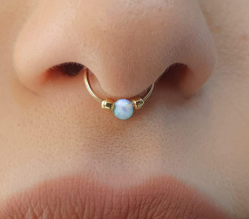 Septum cuff Opal fake septum ring Fake nose ring Fake septum Faux septum ring Fake septum for non pierced nose Fake septum piercing