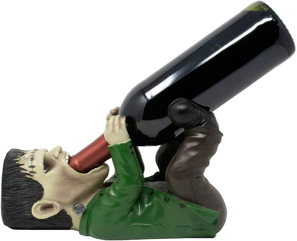 Whimsical Frankenstein The Monster Wine Bottle Holder or Decorative Tabletop Wine Rack for Scary Halloween Decorations, Man Cave Bar or Gothic Décor Display Stand and Funny Gag Gifts