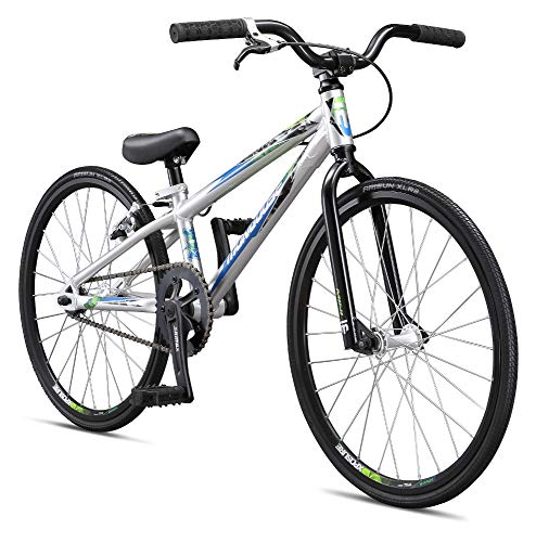 Mongoose Title Mini BMX Race Bike for Beginner Riders, Featuring Lightweight Tectonic T1 Aluminum Frame and Internal Cable Routing with 20-Inch Wheels, Silver
