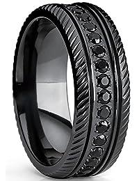Black Titanium Men's Eternity Wedding Band Ring With Black Cubic Zirconia CZ