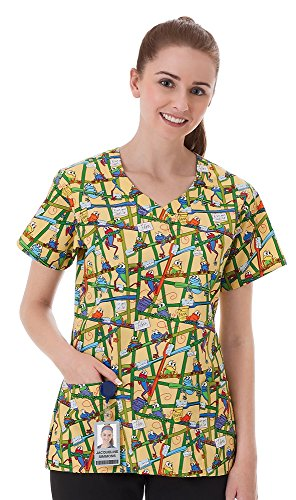 Fundamentals By White Swan Women's V-Neck Frog Print Scrub Top XX-Large Print