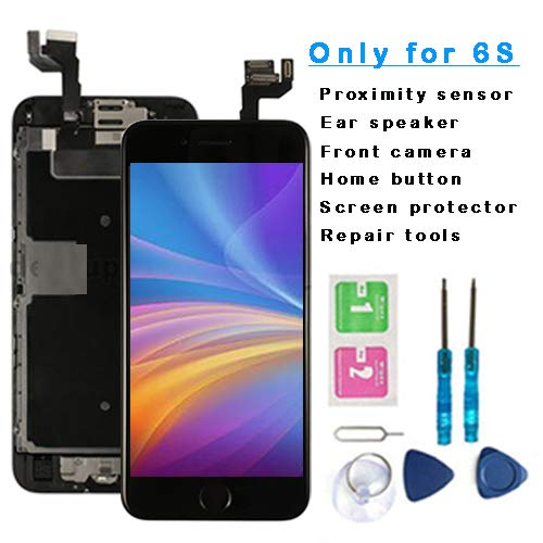 - iPhone 6S Screen Replacement 3D Touch LCD Display Digitizer Full Pre-Assembled Kit (Include Home Button, Front Camera, Ear Speaker, etc) Repair Tools Screen Protector (Black)