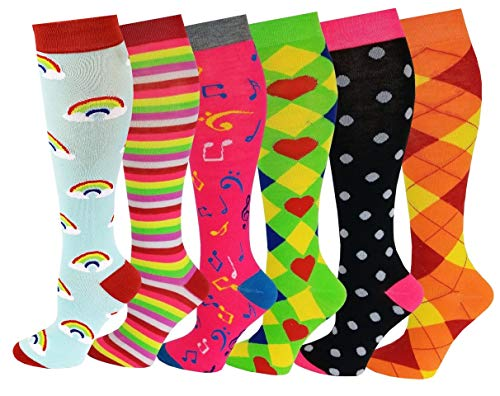 6 Pairs Women's Fancy Design Multi Colorful Patterned Knee High Socks,Assorted Design,Size 9-11 ( Fit women shoe size 4 to 10 )