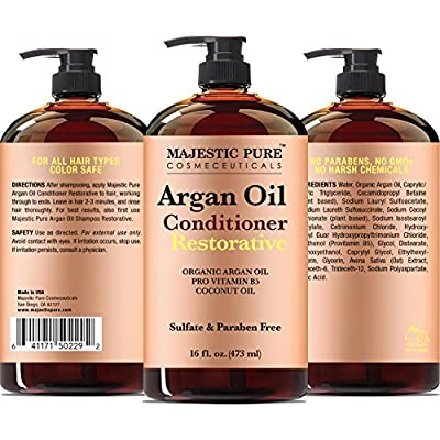 Majestic Pure Argan Oil Hair Conditioner, 16 Fl Oz - Pure and Natural for All Hair Types, Sulfates Free, Parabens Free