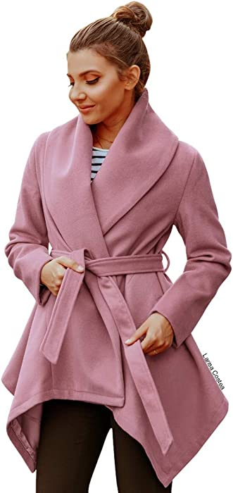 68d15627f78 Chicwish Women s Turn Down Shawl Collar Open Front Long Sleeve Pink  Asymmetric Hemline Wool Blend Coat