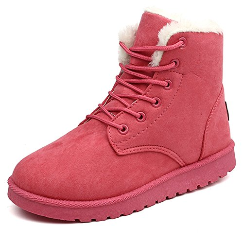 Up Boots Flat Paragon Pantofole Watermelon Lace Snow Greatparagon Faux Donna Stivali Inverno Lined Red Warm Fur Stivaletti SfnUz