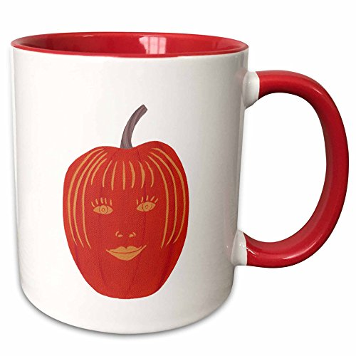 3dRose CherylsArt Holidays Halloween - Painting of a carved female face on a Halloween pumpkin - 15oz Two-Tone Red Mug (mug_165766_10) -