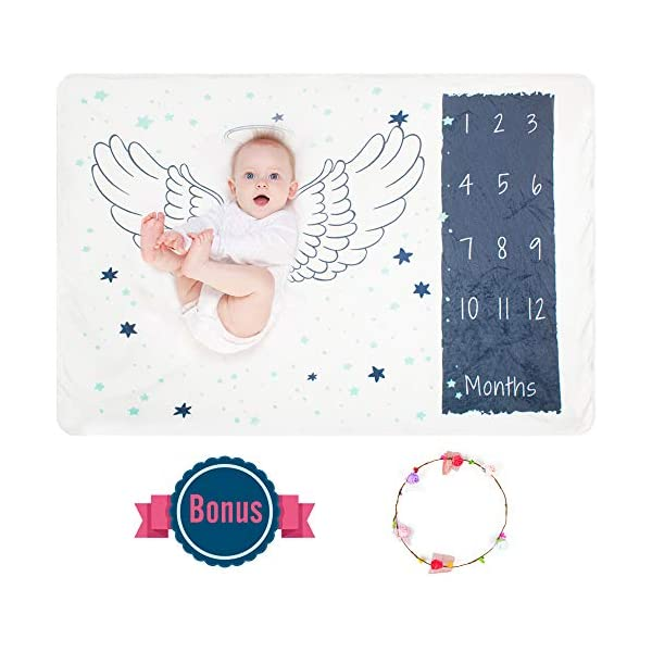 Baby Monthly Milestone Blanket Photography Props Backdrop Blanket, Infant Newborn Premium Fleece Baby Swaddling Month Blanket, Perfect Baby Shower Gift for New Mom Newborn, Bonus Floral Wreath