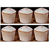 100 White Large Jumbo Texas Muffin / Cupcake Cups White flutted Cupcake Liners Baking Cups