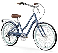 sixthreezero EVRYjourney Women's 7-Speed Step-Through Hybrid Cruiser Bicycle, Navy w/Brown Seat/Grips