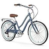 sixthreezero EVRYjourney Women's 26-Inch 7-Speed Step-Through Hybrid Cruiser Bicycle, Navy