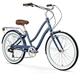 sixthreezero EVRYjourney Women's 7-Speed Step-Through Hybrid Cruiser Bicycle, Navy w/Brown Seat/Grips, 26' Wheels/ 17.5' Frame