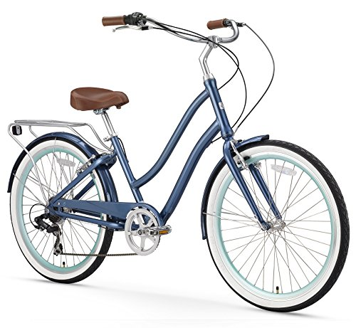 sixthreezero EVRYjourney Women's 7-Speed Step-Through Hybrid Cruiser Bicycle, Navy w/Brown Seat/Grips, 26