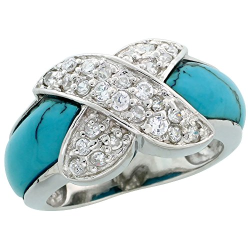 Sterling Silver Criss Cross Cubic Zirconia Ring w/ Turquoise Inlay, 7/16